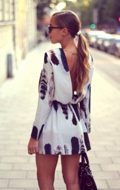 dress carin wester white dress feather pattern backless dress