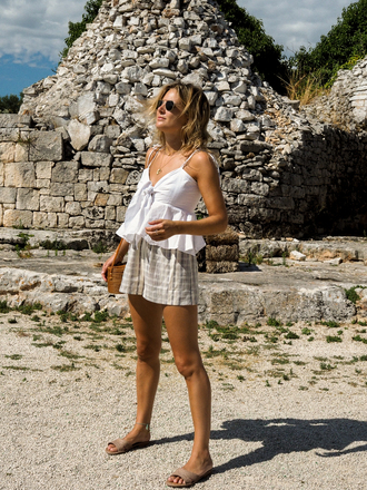 shorts grey shorts tumblr top white top shoes slide shoes summer outfits vacation outfits sunglasses