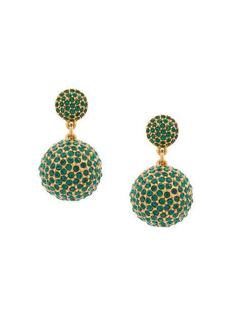 oscar de la renta women earrings green jewels