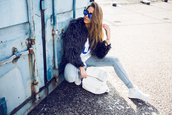 kenza,blogger,jersey,fuzzy coat,light blue jeans,mirrored sunglasses,coat