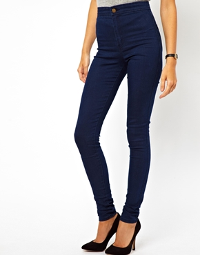 ASOS | ASOS Uber High Waist Denim Jeggings in Indigo at ASOS