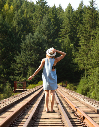 styling my life blogger dress hat strappy bra blue dress slide shoes summer outfits