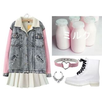 coat skirt shoes jewels pastel pastel goth pastel pink pastel grunge grunge soft grunge soft tumblr tumblr outfit tumblr girl tumblr clothes transparent boots boots tennis skirt choker necklace septum piercing milk kawaii mini skirt polyvore denim see through winter outfits cool jacket pink cute