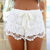 White Lace Shorts|Disheefashion