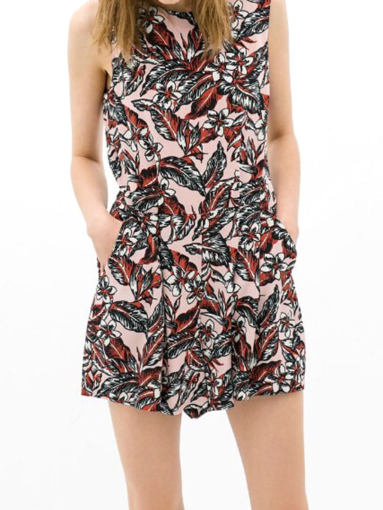 Sexy backless drawstring multicolor feather printed sleeveless jumpsuit