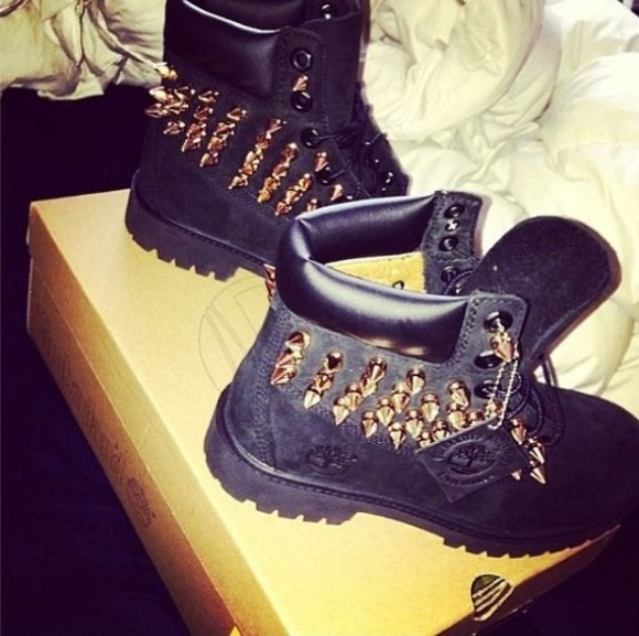 black shoes studded timberlands