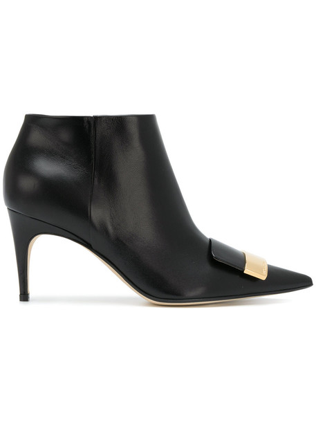 Sergio Rossi women booties leather black shoes