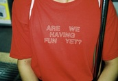 shirt,are we having fun yet,red,quote on it,funny shirt,red shirt,t shirt print,funny,t-shirt,trendy,tumblr