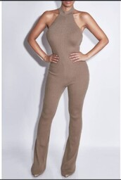 jumpsuit,ribbed,jumper,khaki,bodysuit,sleeveless,beige