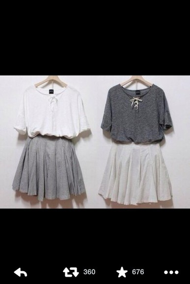white shirt grey shirt skirt grey skirt cute clothes