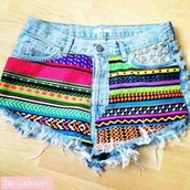 shorts,colorful,spike,aztec,aztec short,noushig,hippie,clothes,azteque,multicolor,clous,High waisted shorts,ripped shorts,jeans,stripes,studs,tribal pattern,studded,light blue,purple,yellow,rainbow,neon,denim,hipster,cut off shorts,vans,denim shorts,color/pattern,rainbow short,colorful shorts,pants,print,demin high waist,pattern,shoes,tumblr outfit,tumblr clothes,colorswitch,urban,crazy design,crazy,awesome style