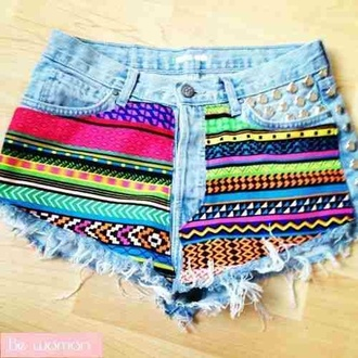 shorts colorful spike aztec aztec short noushig hippie clothes azteque multicolor clous studs cut off shorts high waisted shorts vans denim shorts rainbow denim rainbow short hipster pants