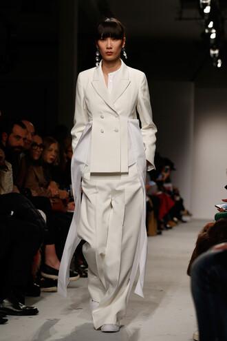 pants jacket milan fashion week 2016 fashion week 2016 wide-leg pants runway model alberto zambelli ports 1961