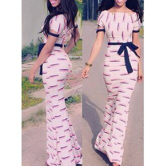 dress fashion girly maxi dress feminine elegant printed boat neck backless waist tied maxi dress for women trendy style bow cute rose wholesale-dec