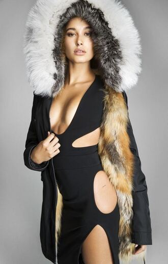 jacket fur jacket cut-out dress black dress hailey baldwin model editorial