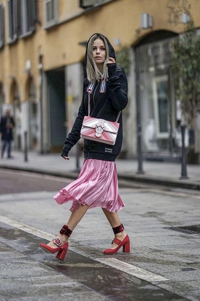 shoes red shoes pumps skirt midi skirt pink skirt hoodie black hoodie bag miu miu pleated skirt multicolor