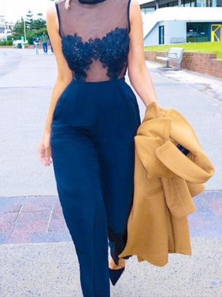 Sexy dark blue sheer mesh & lace splicing crew neck high waist playsuit