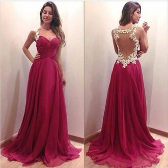 dress prom flowers girls red dress chiffon