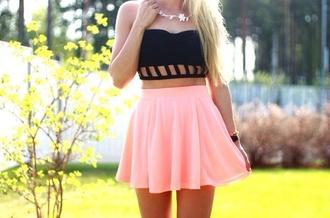 skirt top tank top strapless crop tops black holes pink skirt