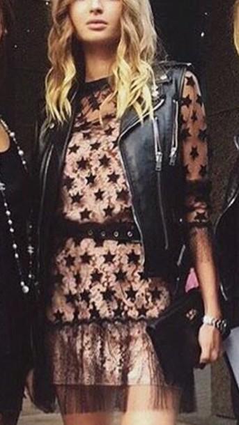 dress pink dress pink black dress black stars leather jacket