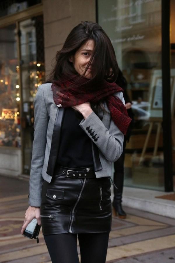 Mini jupe en cuir noir avec fermeture clair asym trique - Tenue avec jupe en cuir ...