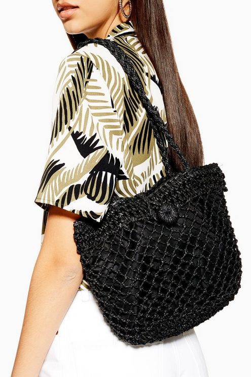 Womens Fizzle Black Straw Tote Bag - Black