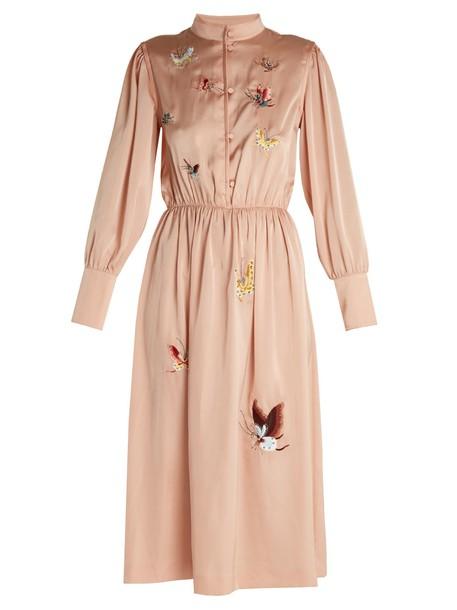 M.i.h Jeans dress satin dress embroidered satin light pink light pink