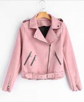 jacket,girly,pink,suede,biker jacket,zip,faux suede jacket