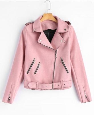 jacket girly pink suede biker jacket zip faux suede jacket