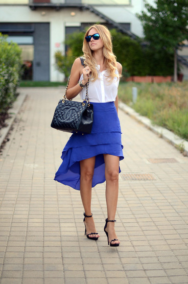 chiara the blonde salad blue skirt asymmetrical bag