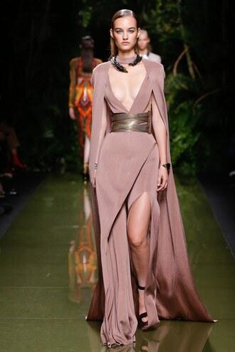 dress cape necklace belt balmain runway paris fashion week 2016 nude pants slit dress asymmetrical jewels