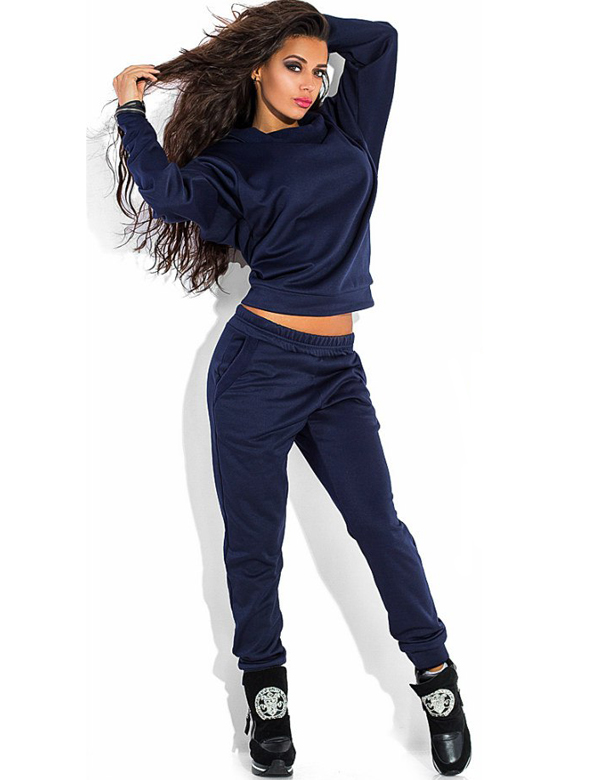 Active Wear Wide Collar Sweatshirt Sweatpants Set