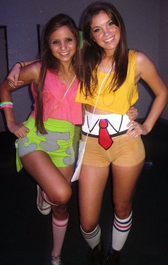 skirt neon green yellow shirt spongebob shorts halloween cute spongebob spongebob and patrick patrick star shorts