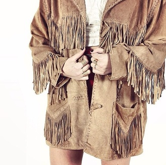 coat native american tasseled fringes indie boho