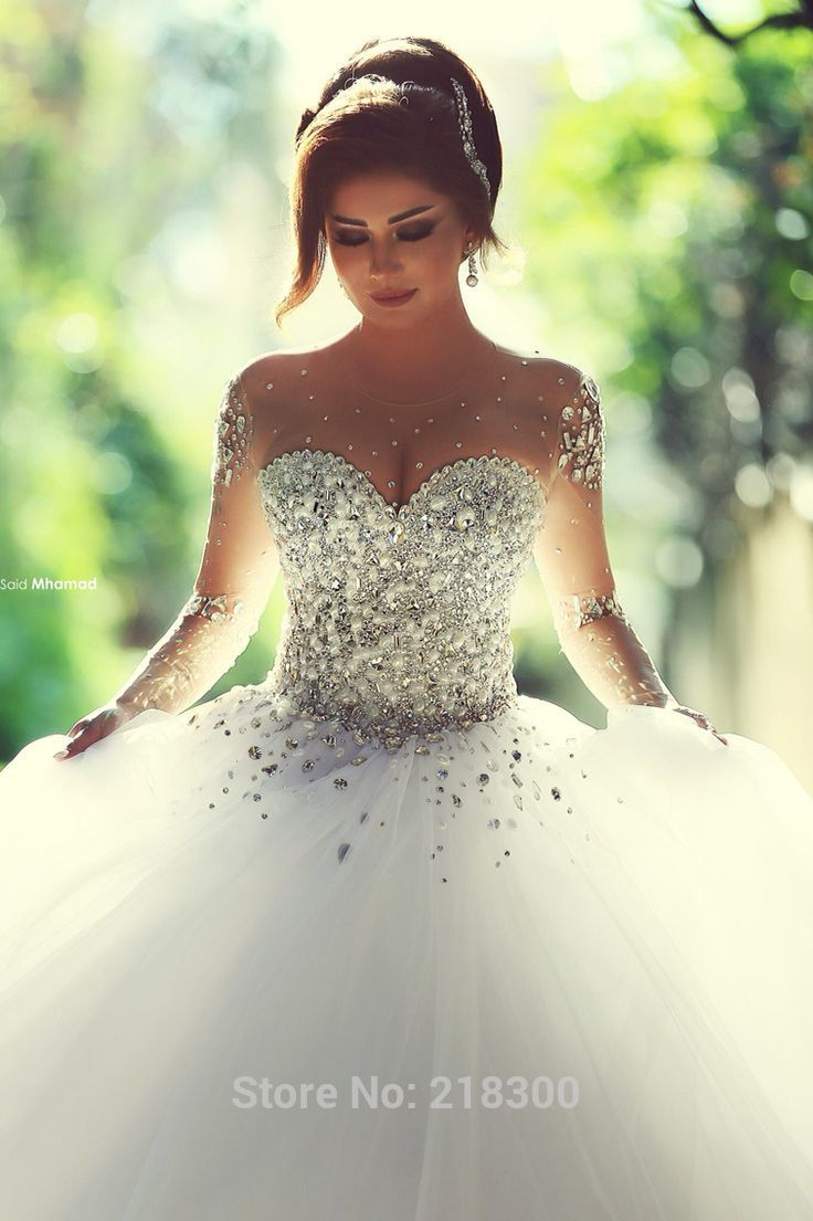 com : Buy Modest Crystal Ball Gown Wedding Dresses with Sleeves ...
