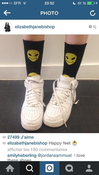black socks alien alien print airforce1 airforceone black socks yellow instagram shoes smile smiley