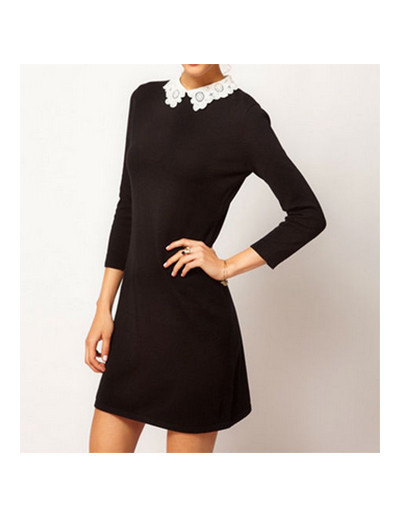 Lace collar black dress victoria beckham style fashion blogger