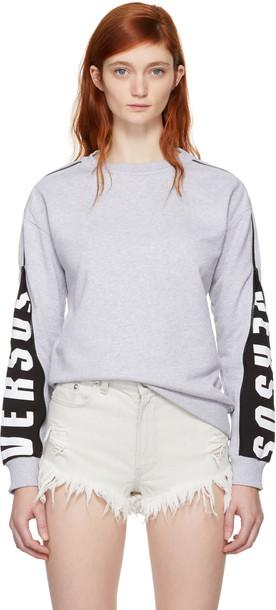 Versus sweatshirt zip mesh grey sweater