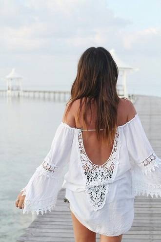 dress summer dress white dress beach dress blouse top clothes flowy white hipster summer festival spring coachella lace inspiring gypsy gypsy inspired dusty junk beach boho boho chic broderie white lace lace blouse bohemian lace top t-shirt bellsleeve top