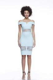dress,off the shoulder dress,bodycon dress,cut-out dress,light blue