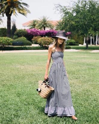 dress tumblr gingham maxi dress long dress spring outfits spring dress bag basket bag straw bag pom poms printed dress hat sun hat gingham dresses