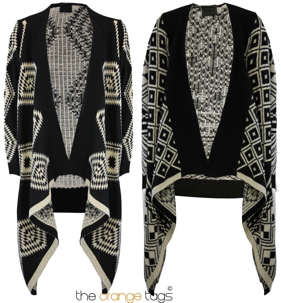 AZTEC PRINT KNITTED OPEN LONG SLEEVE WATERFALL CARDIGAN KNITWEAR ...