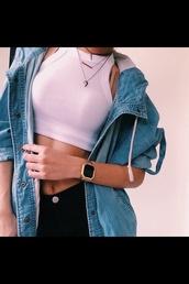 coat,jacket,denim jacket,denim jacket vintage coat,spring jacket,shirt,jewels,jeanjacket,grunge jean jacket,denim,urban,top,jeans,tank top,crop tops,white,necklace,layered,shark tooth,shark tooth necklace,bar necklace,vintage,tumblr,girl,outfit,hippie,autum,spring,winter outfits,sommer,winter coat,blouse,jeans jacket withe shirt,pink top,halter top