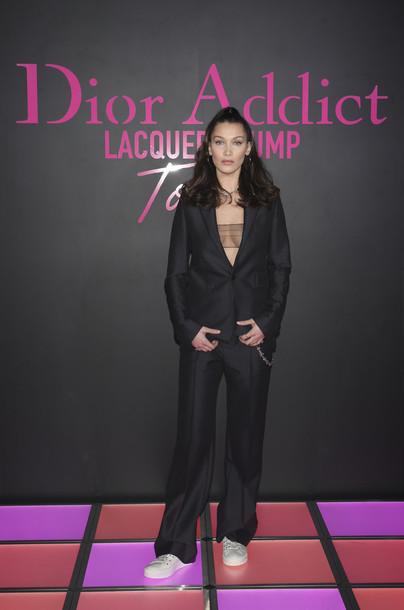 jacket blazer suit top dior bella hadid model underwear see through