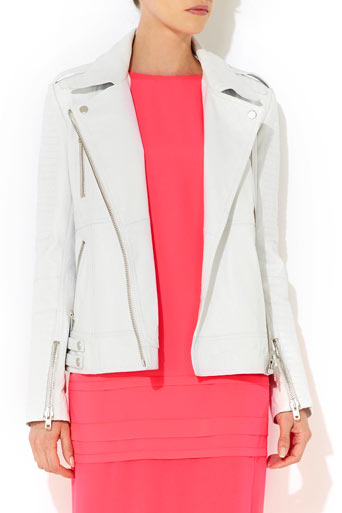 White Leather Biker Jacket - Jackets & Blazers - Clothing - Wallis