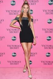 dress,off the shoulder,off the shoulder dress,martha hunt,model,sandals,sandal heels,victoria's secret,victoria's secret model