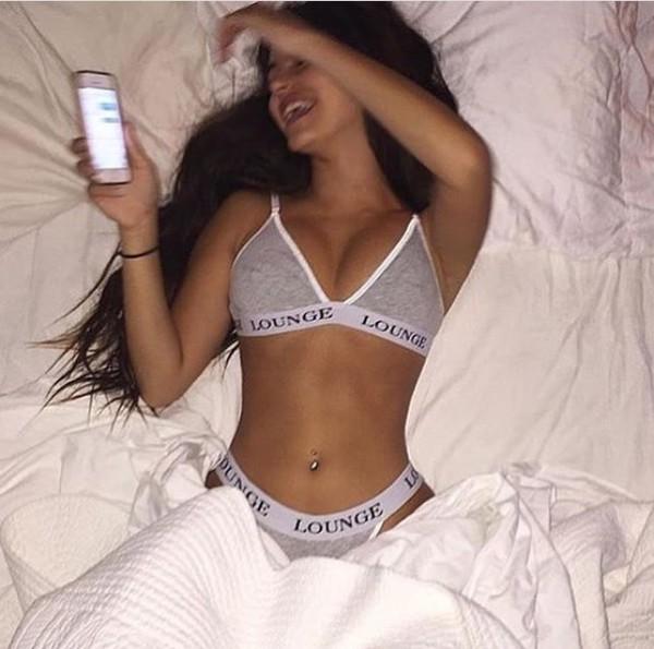 Underwear Bra Panties Grey White Lounge Casual