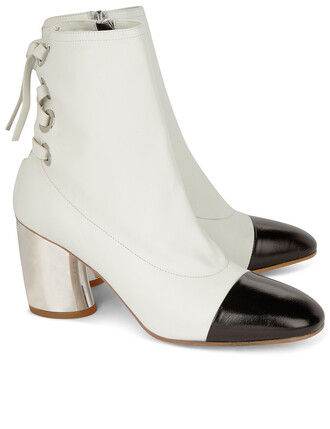 boots ankle boots leather white shoes