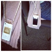 phone cover,perfecto,perfume shaped,bag,purse,style,fashion,white,gold,straps,purse/iphone case,iphone case,iphone 6 case