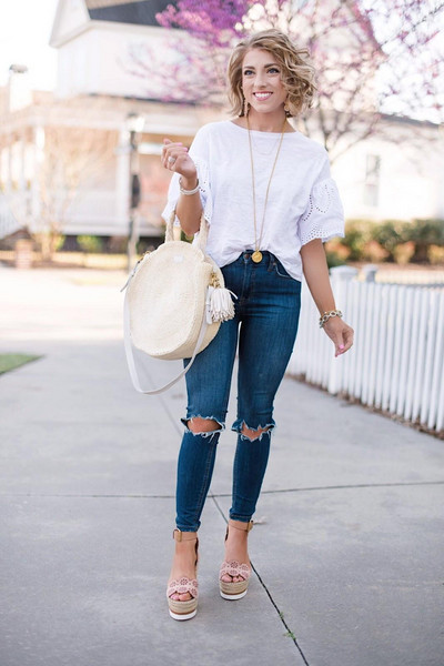 something delightful blogger top jeans bag jewels shoes dress jacket wedge sandals round bag blouse spring outfits